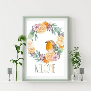 Welcome Print PRINTABLE WALL ART Floral Wreath Sign Florals _ Etsy.jpeg